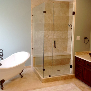 Winchelsea, Bathroom - Stand alone shower with marble tile